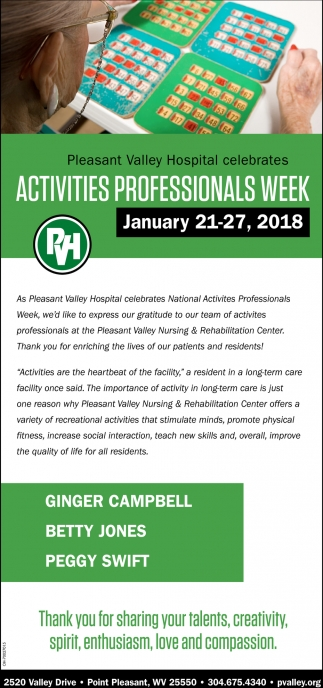 Activities professionals week