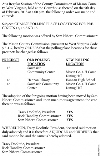 Change polling place locations for precincts 12, 26 and 18