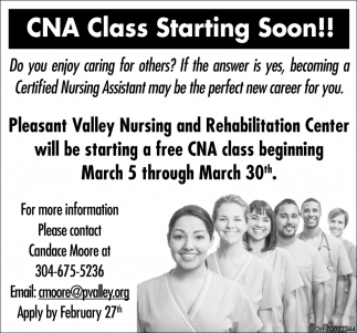 CNA Class Starting Soon!!