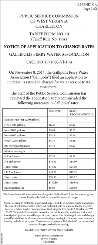 Notice of application to change rates
