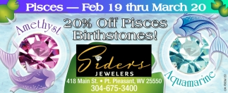 20% off Pisces Birthstones!