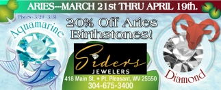 20% off Aries Birthstones!