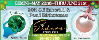 20% off Emerald & Pearl Birthstones!