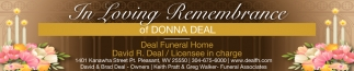 In Loving Remembrance of Donna Deal