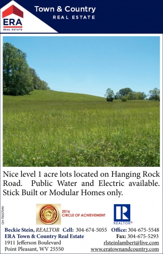 Level 1 acre lot, Hanging Rock