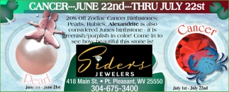 20% off Zodiac Cancer Birthstones!