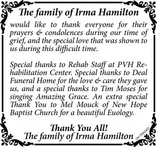 Family of Irma Hamilton