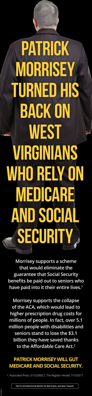 Patrick Morrissey turned his back on West Virginians who rely on medicare and social security