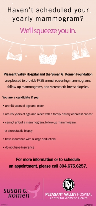 Haven't scheduled your yearly mammogram? We'll squeeze you in.