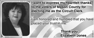 Thabks to the voters of Mason County