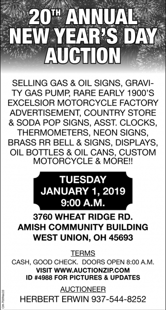 20th Annual New Year's Day Auction