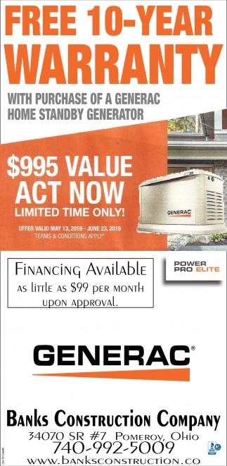 Generac Generators - Free 10 Year warranty
