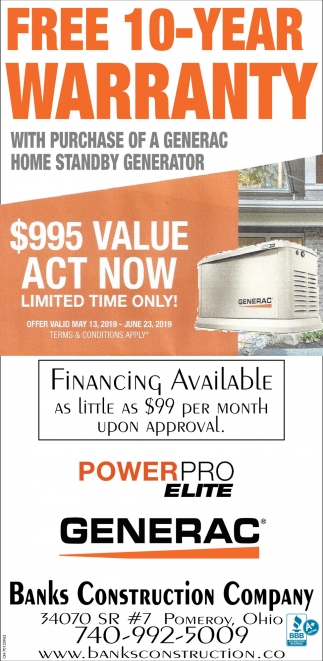 Free 10 Year Warranty with purchase of a Generac home standby generator
