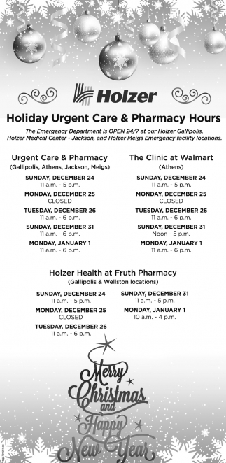 Holiday Urgent Care & Pharmacy Hours, Holzer, Gallipolis, OH