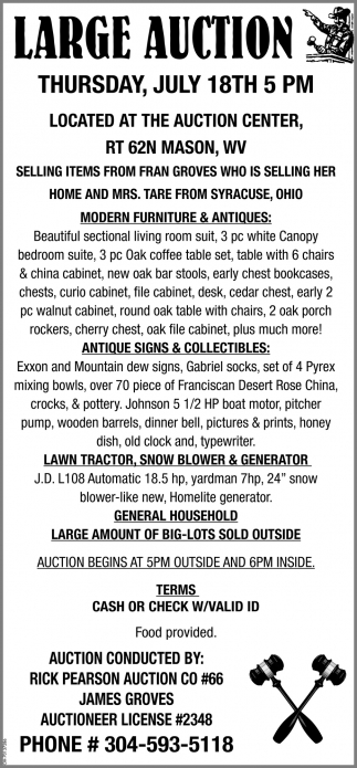 Large Auction - July 18th
