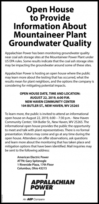 Open house to Provide Information About Mountaineer Plant Groundwarer Quality