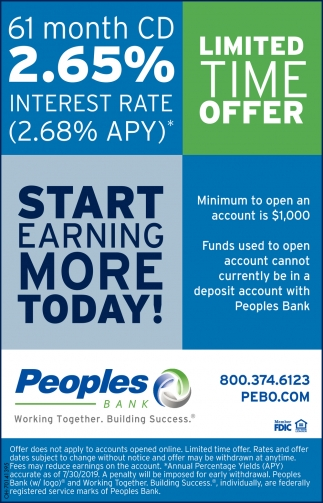 61 month CD 2 65% Interest Rate, Peoples Bank