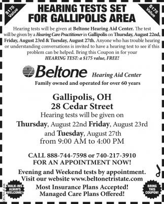 Free Hearing Tests Set for Gallipolis Area