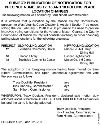Publication of Notification for Precinct Numbers 12, 16 and 18 Polling Place Location Changes
