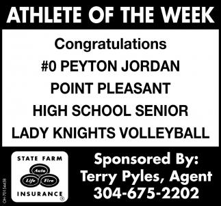 Peyton Jordan  - Athlete of the Week