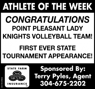 Congratulations Point Pleasant Lady Knights Volleyball Team!