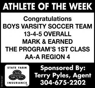 Congratulations Boys Varsity Soccer Team
