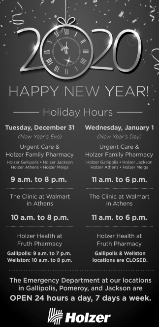 Happy New Year - Holiday Hours